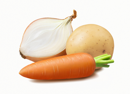 Vegetables: onion, carrot, potato isolated on white