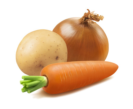 Onion, carrot and potato isolated on white Stock Photo