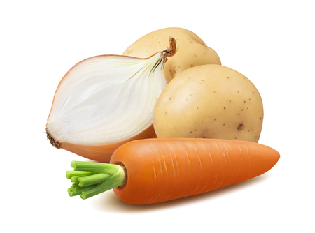 Potato, carrot and onion half isolated on white