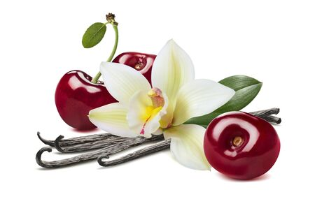 Sweet cherry and vanilla pods isolated on white Stock Photo