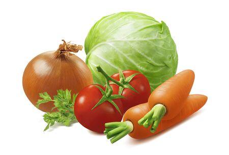 Sauteed cabbage or sauerkraut ingredients isolated on white. Zdjęcie Seryjne