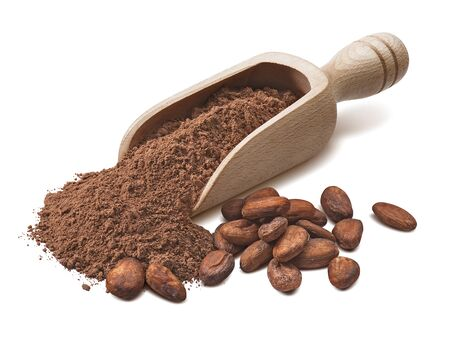 Wooden scoop with crude cocoa powder and raw beans isolated on white