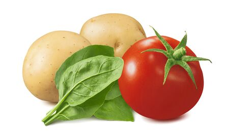 Tomato, potato and spinach isolated on white Stock Photo