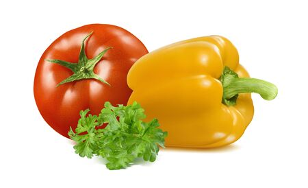 Tomato, yellow bell pepper and green parsley isolated on white