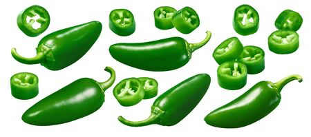 Green hot pepper set isolated on white