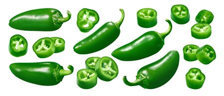Green chili pepper set isolated on white