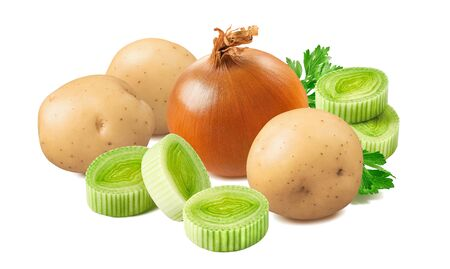 Potato, leek and onion isolated on white