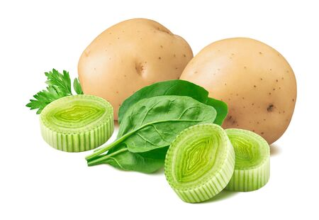Potato, leek and spinach isolated on white Stock Photo