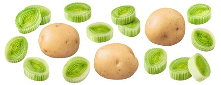 Leek pieces and potato set isolated on white Stock Photo