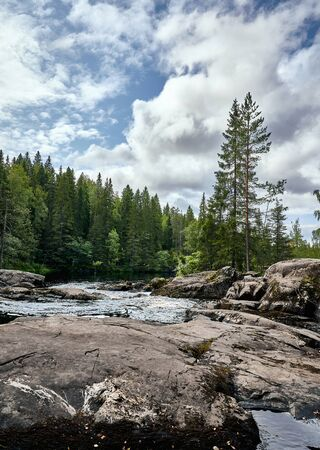 Mountain river in the forest, Karelia, Ruskeala. Nature wallpaper