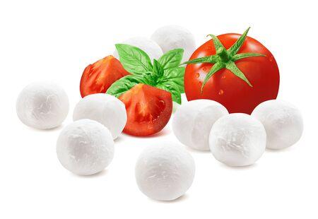 Ingredients for Italian caprese salad, tomato, basil, mozzarella isolated on white
