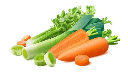Fresh leek, celery and carrot isolated on white