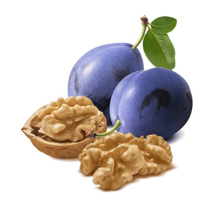 Walnut nuts and plums isolated on white background. Package design element with clipping path Reklamní fotografie