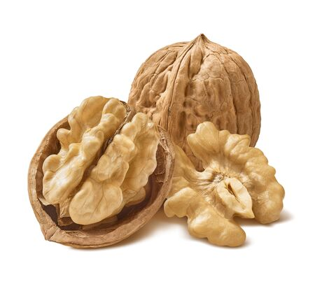 Walnuts in shells isolated on white background. Package design element with clipping path