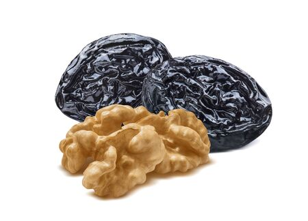 Walnut nuts and prunes isolated on white background. Package design element with clipping cut