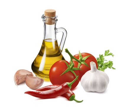 Hot sauce ingredients, tomato, garlic, onion, chili pepper and olive oil in bottle isolated on white
