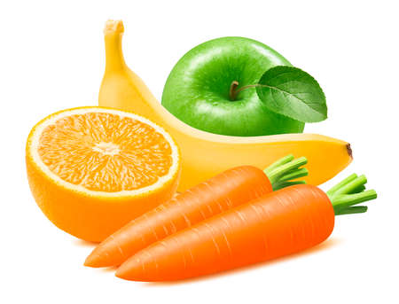 Green apple, orange, banana and carrot isolated on white background. Package design element with clipping path