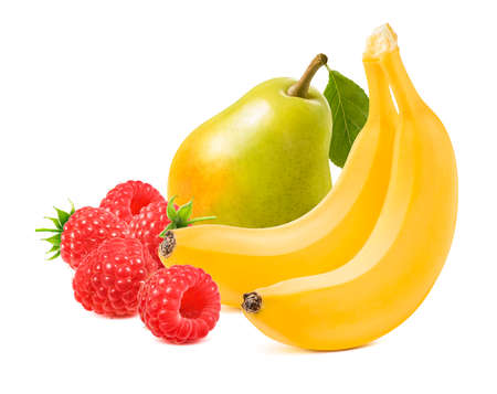 Williams pear, banana and raspberry isolated on white background. Package design element with clipping path