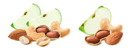 Slice of green apple, cashew, almond and peanut set isolated on white background. Package design element