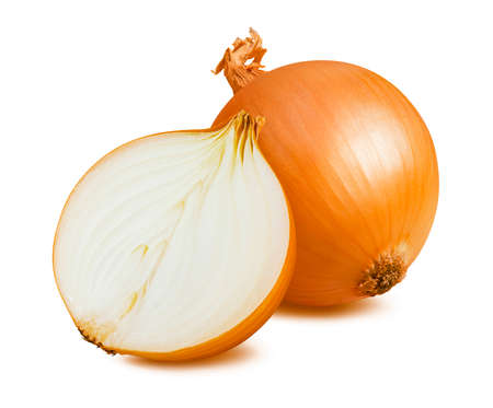 Whole and half onion isolated on white