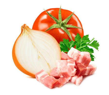 Tomato, onion, parsley and ham isolated on white Archivio Fotografico