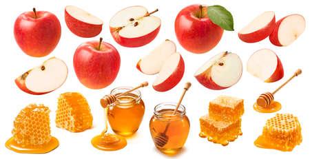 Red apples and honey isolated on white background. Jewish New Year celebration set. Standard-Bild