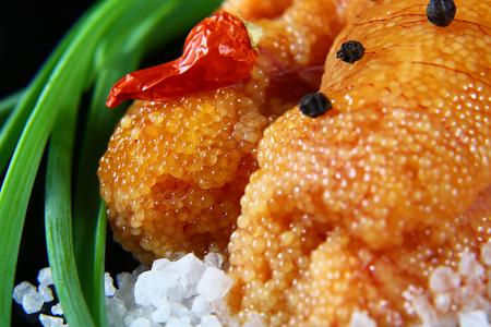 macro delicious caviar, roe closeup, pike caviar flat lay on sea white salt, green onions, red hot pepper, set.