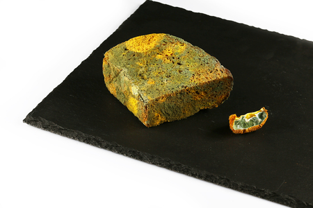 half a loaf of mouldy rye bread and a piece of kiwi with a mold on a black shale board isolated on white background, concept of inedible products, closeup, set.