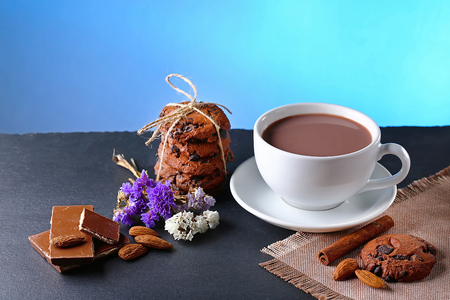 Chocolate milk, hot cup of cocoa, chocolate cookies, almonds, flowers on a shale board on bright blue background, place to copy text, set.
