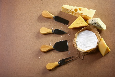 Assortment of cheese with Cheese Serving Knife. Camembert or brie cheese circle, top view image with copy space, set.
