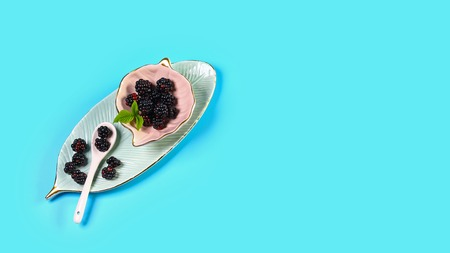 Ceramic bowl with blackberries on blue background. Close up, high resolution product. Harvest Concept.