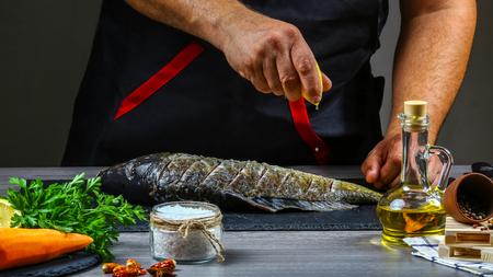Processing of cooking fish with lemon juice. carp fish with various ingredients lemon, herbs and spices on shale board. Steps process. Top view, place for text. Stock Photo