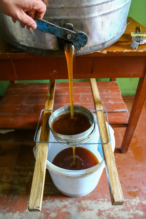 strain the honey through the sieve from the honeypot. Beekeeping concept.