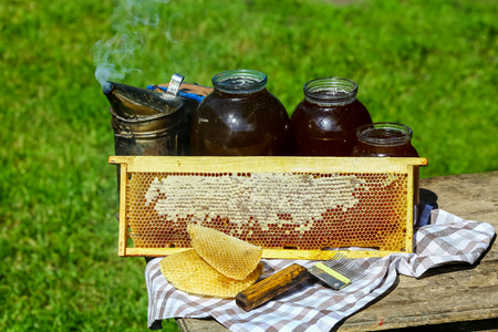 Jar of fresh honey with assorted tools for beekeeping, a wooden dispenser and tray of honeycomb from a bee hive in a still life on a wooden table outdoors.
