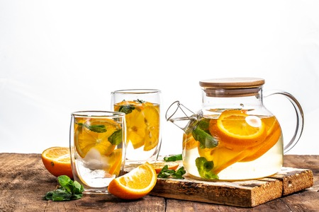 Water detox with orange, mint as lemonade refreshment. fitness, healthy nutrition diet concept. space for text.