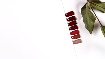 the color of Polish for manicure shades of brown and beige shades. design for nails. testers nail Polish. Fashion manicure. Shiny gel lacquer. feminine nail art. Selective focus. Copy space.
