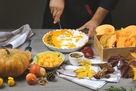 Festive Homemade Pumpkin Pie for Thanksgiving Ready to Eat. Preparing pumpkin puree. Reklamní fotografie