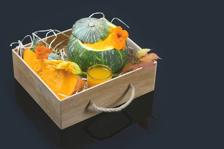 Pumpkin soup. Flat lay composition with bowl of pumpkin soup and space for text.