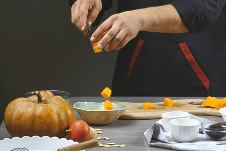 Preparing pumpkin puree. Ingredients for pumpkin pie for Thanksgiving day, recipe, menu.