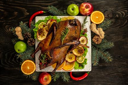Homemade Roast Duck. Crispy whole roast duck. Thanksgiving or Christmas Dinner. top view. Reklamní fotografie