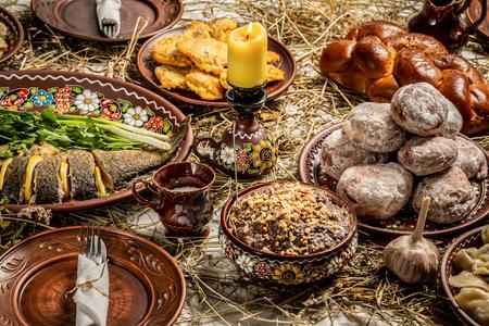 Traditional food for Orthodox Christmas. Kutya - wheat porridge with nuts, raisins, honey, poppy seeds. traditional Christmas sweet meal in Ukraine, Belarus and Poland. Reklamní fotografie