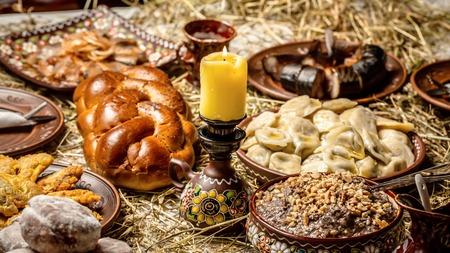 Christmas Family Dinner Table Concept. Christmas porridge. Kutya.Traditional Christmas table.Ukrainian Christmas kutya. Reklamní fotografie