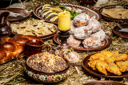 Christmas Eve, night before the christmas table,traditional Christmas table in ukraine, on wooden table. Reklamní fotografie