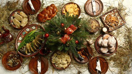 Christmas Family Dinner Table Concept. traditional Christmas sweet meal in Ukraine, Belarus and Poland, on wooden table. Reklamní fotografie