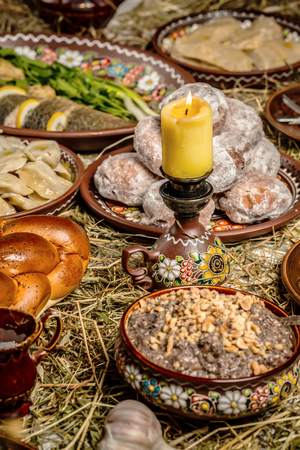 traditional Christmas table in ukraine, on wooden table. Top view. Holiday concept.