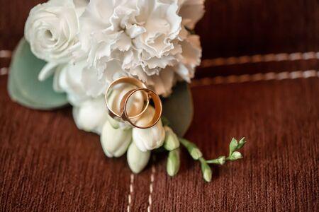 Wedding bouquet with white flowers of bright colors, bouquet of bride flowers. Reklamní fotografie