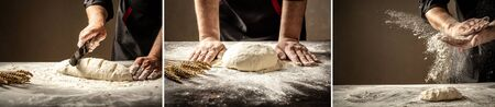 Beautiful and strong men's hands knead the dough from which they will then make bread, pasta or pizza. A cloud of flour flies around like dust. Food concept. diverse set. background image.