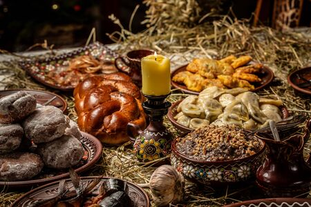 Plate with kuti traditional Christmas sweet dishes in Ukraine, Belarus and Poland. Christmas dinner kutia. Banco de Imagens