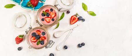Traditional Italian dessert panna cotta with strawberry jelly. Summer yogurt dessert. Long banner format. space for text