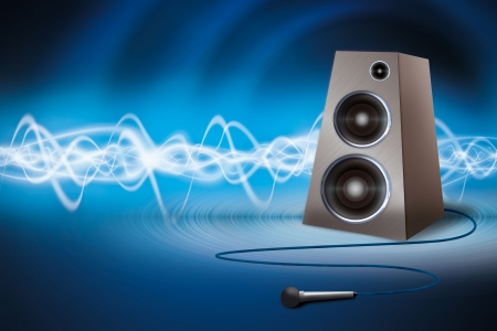 concert audio speaker: Speaker and microphone on an abstract background